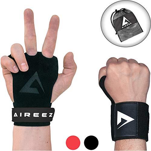 Aireez® 2 in 1 Crossfit Handschuhe SB Pull up Grips Für Handschutz & Handgelenk Bandagen Set, Hand Grips, Calisthenics Handschuhe, Turnen Riemchen (Damen & Herren) für Freeletics, Gymsnatik & Wodies