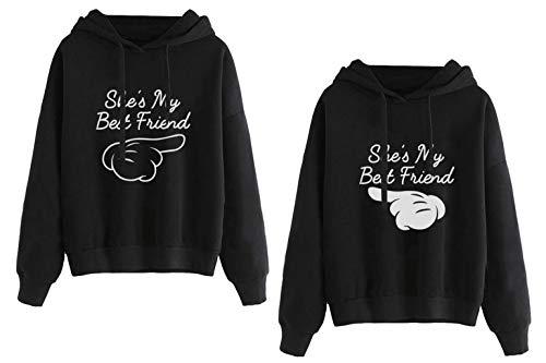Best Friend Impresión Sudadera Sister Mejor Amiga Hoodies2 Piezas Suéter con Capucha Manga Larga Encapuchado Otoño Invierno Primavera para Mujer Moda