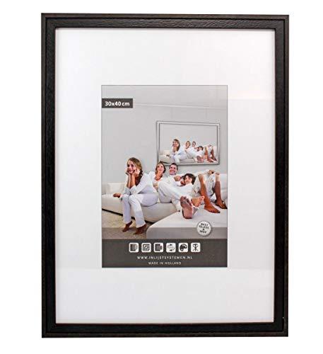 Fotolijst Hout - 70x90 cm - Zwart/Bruin - Fotokader met Ontspiegeld Polystyreen - 20 mm Profieldikte