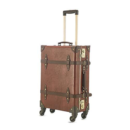 GGYMEI Maleta Vintage, Gran Capacidad con Tirante Adecuado for Viajes De Almacenamiento De Equipaje De Ropa Podría, 3 Colores 3 Tamaños (Color : Brown, Size : 52x21x34cm)