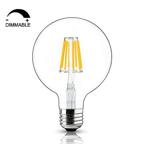 Bonlux 8W G125 E27 Dimmable LED Filamento Globo Blanco Fresco 6000K Edison Tornillo ES 125mm LED Bombilla Antiguo 75 Watt Incandescente Reemplazo