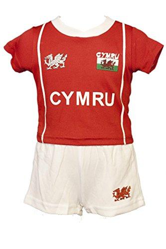 Ensemble de football ou de rugby rouge et blanc 'Bryn', aux couleurs du Pays de Galles, tissu technologie Cooldry, pour bébés et jeunes enfants - - 5_ans