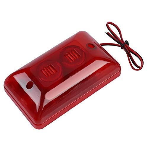 Kafuty 12 V 15 Watt Tragbare Verdrahtete Alarmsirene ABS Kunststoff Blinkendes Rotes Blitzlicht Sound Sirene Eingebaute LED Hohe Dezibel Ton, Keine Strahlung, Umwelt, Geeignet für Home Hotel, etc.