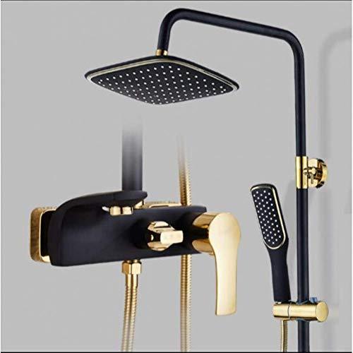 Zixin Badezimmer-Dusche-Hahn-Satz Painted Black and Gold-Badewannen-Hahn-Mischer-Hahn-Wasserfall-Wand-Duschkopf Dusche Dusche Tap