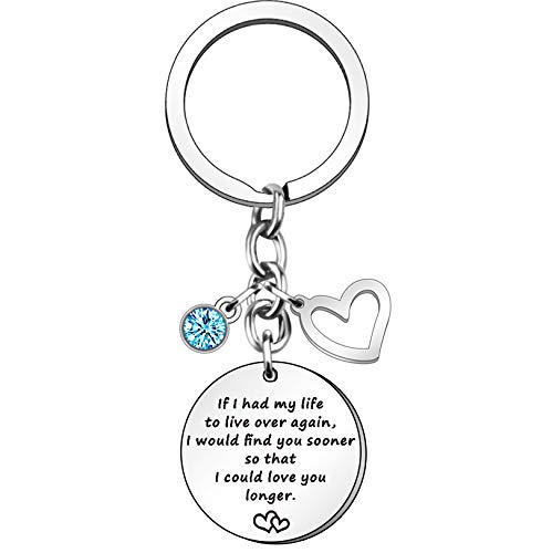 HULALA Couple Love Keyring Valentines Gifts For Her Girlfriend Wife Bride Groom Birthday Wedding Anniversary Christmas Presents Women Keychain If I Had My Life To Live Over Again