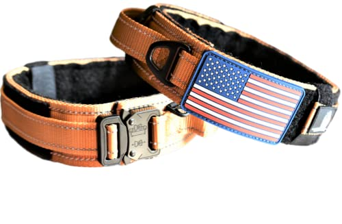 Dog Collar with Control Handle Quick Release Metal Buckle Heavy Duty Military Style 2' Width Nylon with USA Flag for Handling and Training Large Canine Male Or Female K9 (TAN)
