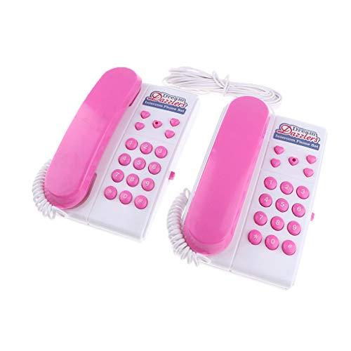 P Prettyia Simulación Plástico Teléfonos con Cable Intercomunicador Regalo para Niños Teléfonos Set Padres Interactivos Juguetes para niños - Rosado