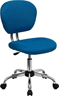 Flash Furniture Mid-Back Turquoise Mesh Padded Swivel Task Office Chair with Chrome Base