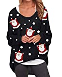 ZANZEA Mujer Jersey Navidad Irregular Manga Larga Camiseta Baggy Jumper Pullover Casual Tops Suéter Suelto W-Santa Negro XL