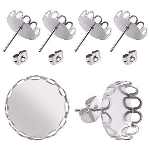 Jdesun 40 Stück (20 Paar) Ohrring Rohlinge Edelstahl Ohrstecker mit Fassung Rohlinge für 12mm Cabochons mit 40 Stück Ohrring Ohrstopper zum Schmuck basteln - Silber