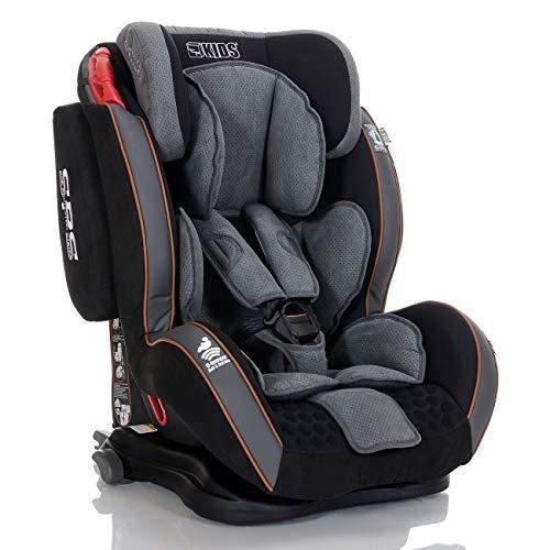 LCP Kids GT Seggiolino Auto 9-36 kg Isofix Gruppo 1/2/3 Bambino a 1-12 Anni, Reclinabile in 4 Posizioni, Nero