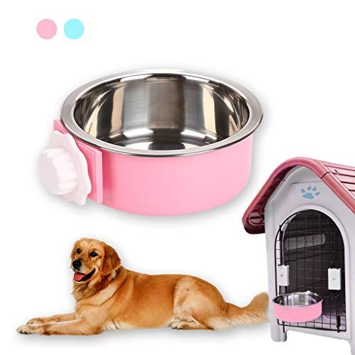 Andiker Hond Ophangkom 2-in-1 Uitneembare RVS Voedsel Ophangschaal voor Puppy/Cat, Huisdier Kom Ophangkooi Grote Water Voedsel Voeding voor Honden Katten, small, roze