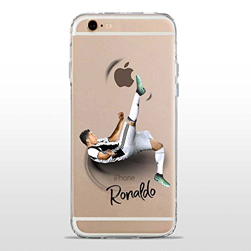 IP6 6S Cover TPU Gel Trasparente Morbida Custodia Protettiva, Soccer Collection, CR7 Juve, iPhone 6 6S