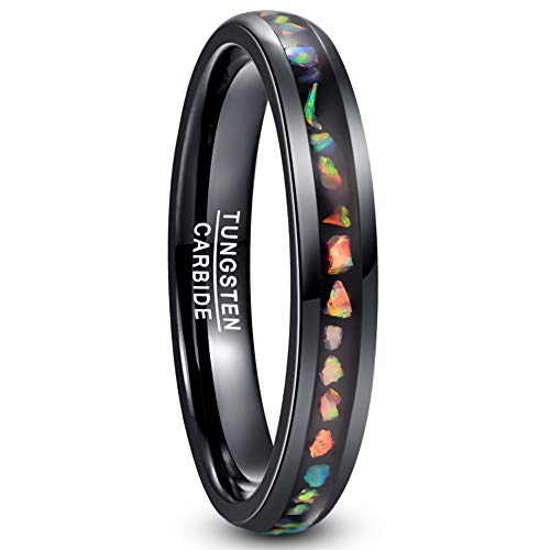 VAKKI 4mm Women's Fire Opal Engagement Band Black Domed Tungsten Carbide Promise Ring Size N 1/2