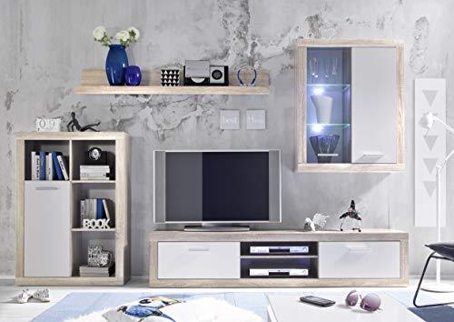 BGB1 89-078-68 Wohnwand , Holz, sonoma hell/weiß, 270 x 200 x 38 cm - 3