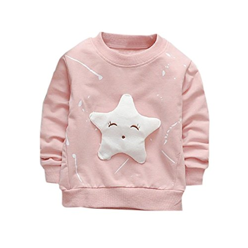 LNGRY Baby Boy Girl Outfits Clothes Star Printed Cotton Long Sleeve T-shirt Top (Pink, 12-18 Months)