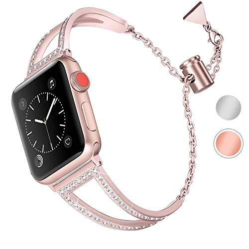 Aottom Kompatibel für Armband iWatch Series 5 40mm Edelstahl Frau,Armband iWatch 38mm Roségold Metall Ersatzband iWatch Series 4 40mm Armbänder iWatch Series 3 für Apple Watch Series 5/4/3/2/1