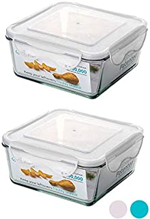 ClipFresh CFGL5108/2E Airtight Oven-Safe Glass Food Storage Containers with BPA-Free Locking Lids (Pack of 2), 11-Cup, Applewhite