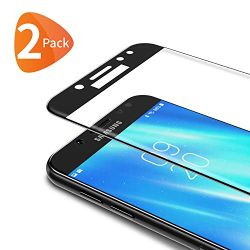 Bewahly Panzerglas Schutzfolie für Samsung Galaxy J5 2017 [2 Stück], 3D Curved Full Cover Panzerglasfolie Ultra Dünn HD Displayschutzfolie 9H Härte Folie für Samsung Galaxy J5 2017 - Schwarz