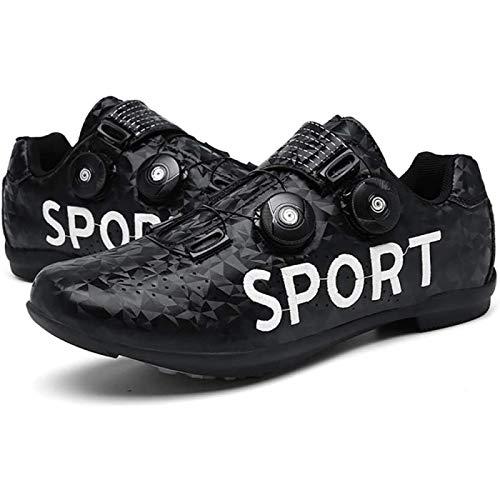 JINFAN Road Cycling Shoes,Men's Bicycle Shoes,Lightweight Wear Resistant Bike Footwear Road Bike Shoes Mountain Bike Shoe,Black-40EU