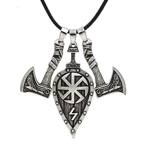 Männer Viking Odin Slawische Krähe Schwert Doppelaxt Schild Halskette Anhänger Amulett Rune Schmuck Doppelseitige Antike Silber Bronze Axt Halskette mit Leder Seil,Silver