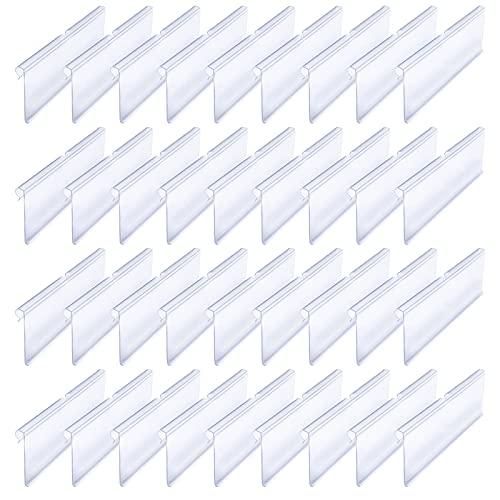 Iyowei 36Pcs Soporte de Etiqueta de Precio Porta Precios Estanterias, 10 * 4.2cm Portaprecios Estanteria Plastico, Clips de Etiquetas Precios para Colgar en Estante de Tiendas Mercería (Transparente)
