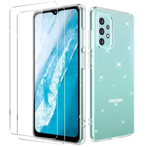 Oududianzi - Cover per Samsung Galaxy A32 4G + [2X Pellicola Protettive in Vetro Temperato] [Cover Trasparente con Glitter] Custodia Protettiva Ultra Sottile in Silicone Antiurto - Trasparente