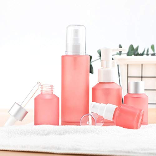 Beeria 5 Pcs Glass Cosmetic Bottle Small Sample Empty Bottle Travel Bottling Squeeze Type Water Emulsion Foundation Drop Tube Spray Bottle