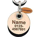Anhänger rund (Kreis) fürs Halsband personalisiert ECHTES LEDER! Hundemarke ohne geklimper! f. Hundehalsband Katzenhalsband Kette DogTag (Normal)
