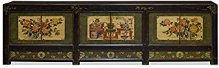 ChinaFurnitureOnline Hand Painted Elm Wood Tibetan Cabinet with Floral Art