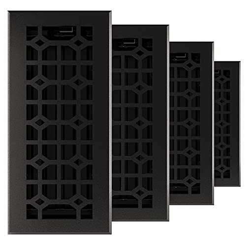 Imperial RG3404 Cast Iron Templar Decorative Floor Register, 4 x 10 Inch, Matte Black, 4 Pack
