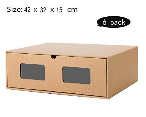 LHY SAVE Schuhaufbewahrung,Schuhbox Transparent 6X Aufbewahrungsbox Aus Kraftpapier Allzweckbox Schublade Pappe Schuhkarton Für Frauen Und Männer,42 * 32 * 15cm
