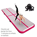 FBSPORT 10cm hoch 1M Aufblasbar Gymnastik Tumbling Matte Air Track,Trainingsmatte mit Luftpumpe,Gymnastikmatte mit Tragetasche