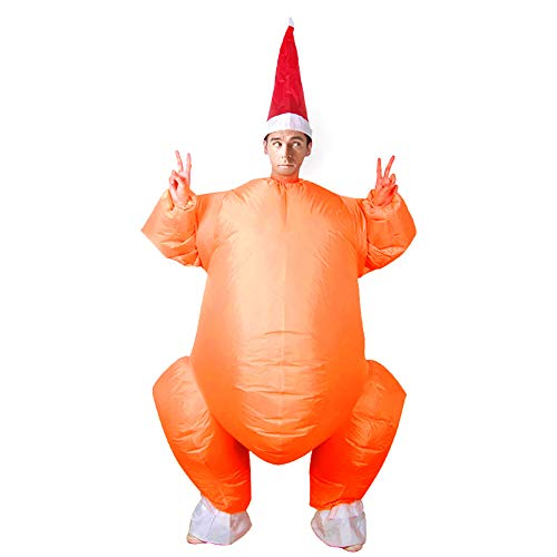 helegeSONG Turkey Costume, Adults Inflatable Turkey Garment, Christmas Halloween Thanksgiving Day Waterproof Cosplay Jumpsuit Yellow