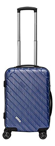 Packenger Handgepäck Koffer - Vertical (M), Blau-Metallic, 4 Zwillingsrollen, 48 Liter, 54cm, Koffer mit TSA-Schloss, Erweiterbarer Hartschalenkoffer (Polycarbonat) robuster Trolley Reisekoffer