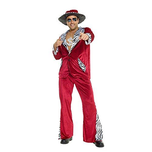 Morph Rotes Zuhälter Kostüm für Herren, Pimp Verkleidung Erwachsene, Junggesellenabschied, Karneval, Halloween, Party - L (107-112 cm Brustumfang)