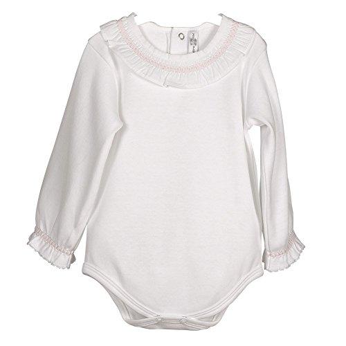 CALAMARO - Bodi Cuello Algodon bebé-niños Color: Blanco/Rosa Talla: 18