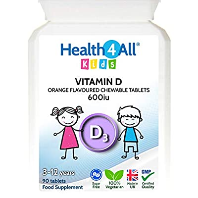 Kids Vitamin D3 600iu Chewable Tablets. Sugar Free. Natural Orange Flavour. Made by Health4All Kids, 90 Tablets (V)