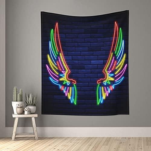 Tapiz de color neón alas tapices pequeños de pared para dormitorio, sala de estar, ventana, decoración estética, divisor de habitación, 152,4 x 129,5 cm