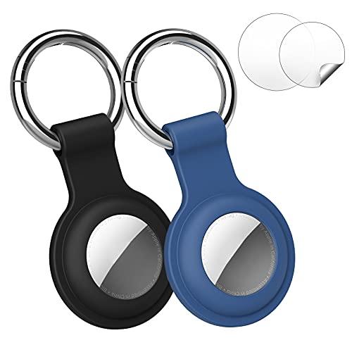 DORART 2 Pack Llaveros para AirTag Funda Protectora de Silicona, Llavero Antipérdido, AirTag Funda Portátil con Películas Antirrayas para AirTags (Negro, Azul)