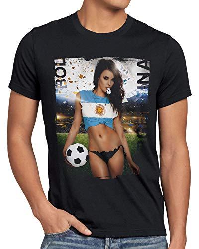 style3 EM 2020 Soccer Girl Deutschland Herren T-Shirt Fußball Trikot Germany Schwarz, Größe:XL, Land:Argentinien