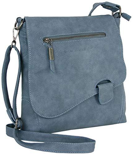 Handtasche Schultertasche UMHÄNGETASCHE Used Optik VON Bag Street, Riegel (Wash-Blue)