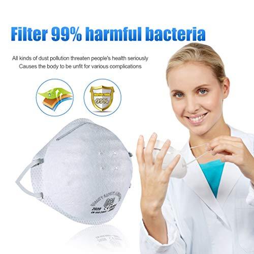 fghdf N95 Antivirenmaske FFP3 mit Atemventil, Filter 99% Bakterien und Staub,Kopfbedeckte Sicherheitsschutzmaske der Klasse FFP2 / FFP3 (weiß) (20pcs, FFP2) - 6