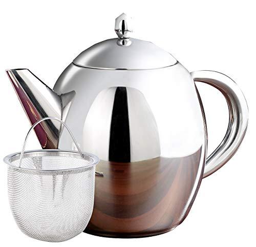 Rosenstein & Söhne Teekrug mit Sieb: Edelstahl-Teekanne mit Siebeinsatz, 0,8 Liter, spülmaschinenfest (Teekanne mit Sieb Edelstahl)