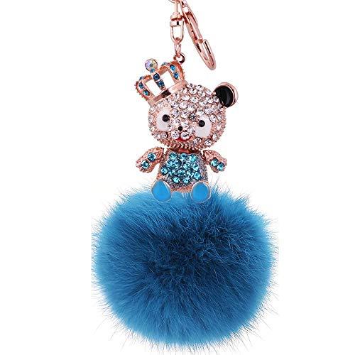 Kreativer Plüschbär Dame Schlüsselbund Plüsch Plüsch Frauentasche Autozubehör Blau Anhänger+Jeans Blau