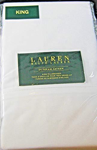 Ralph Lauren Set of Dunham Sateen King Size Pillowcases White -300 Thread Count 100% Cotton-