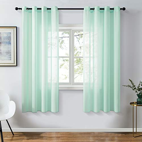 Topfinel Chiffon Mint Green Sheer Curtains 63 Inch Length for Bedroom Living Room Soft Solid Grommet Window Curtains, 2 Panels