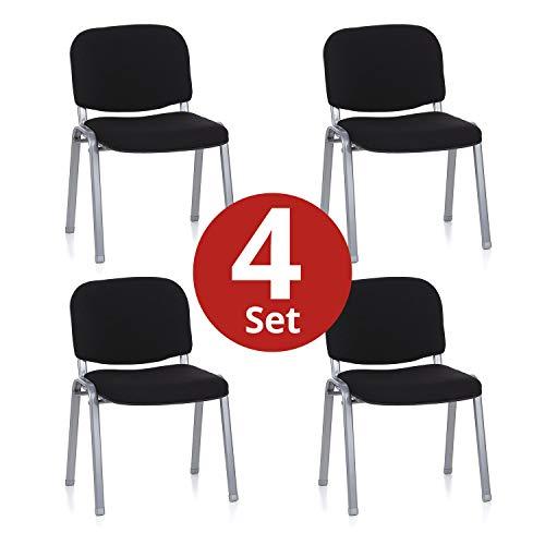 hjh OFFICE 704530 4er Set Besucherstuhl XT 600 Stoff-Bezug Schwarz/Silber Konferenzstuhl gepolstert, stapelbar