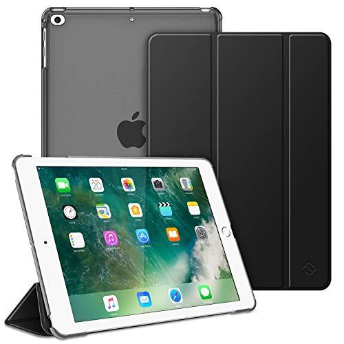 FINTIE Funda para iPad 9.7 (2018/2017), iPad Air 2, iPad Air - Trasera Transparente Carcasa Ligera con Función de Soporte y Auto-Reposo/Activación, Negro