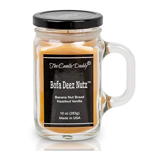 The Candle Daddy- Bofa Deez Nutz Candle - Banana Nut Bread, Hazelnut Scented Double Layer Candle - 10 oz Mason Jar Candle - Funny Gag Joke Candle Poured in Small Batches in USA